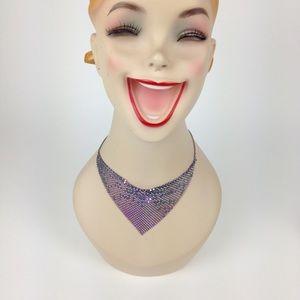 Vintage 80s purple metallic flashy bib necklace